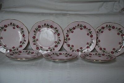 Vintage IMPERIAL Fine Bone China  3 Saucers 4 Small Plates - Pink with Roses