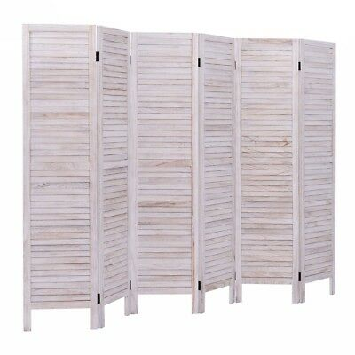 White 6 Panel Wood Classic Slat Room Divider Privacy Folding Screen Partition