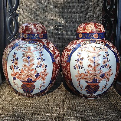 Two Large Chinese Famille Flowers Porcelain Vases H 11,5""