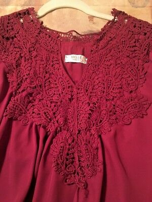 Burgundy Lace Front And Back Long Sleeve Blouse By Melle Size Large