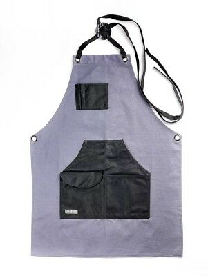 Gray Bear Waxed Canvas Apron Utility Work Coverall Built-In Pockets Adjustable