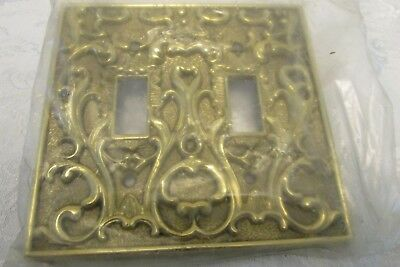 Vintage NOS ORNATE Brass DOUBLE Toggle LIGHT SWITCH WALL COVER PLATE  Italy