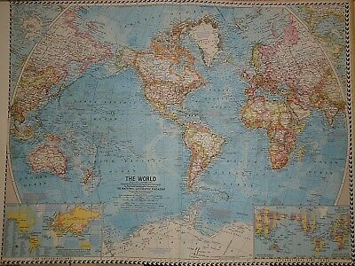 VINTAGE WORLD Map Authentic Original Year Old NAT GEO Map - Authentic world map