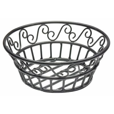 American Metalcraft Wrought Iron Scroll Design Round Bread Basket,  8-Inch,