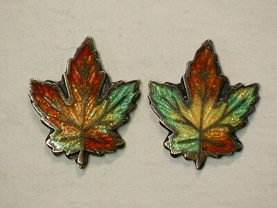 Antique Vintage Sterling Silver Enameled Maple Leafs Lot Of 2 12x14mm #G7058