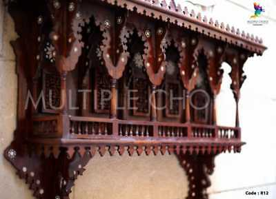 Antique Egyptian Wood Wall Shelf, Hand Work Arabesque, Inlaid Mother of Pearl