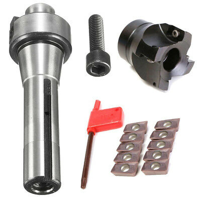 """2"""" R8 Shank Face Shell Mill 400R 50MM CNC End Milling Cutter 10 APMT1604 Inserts"""