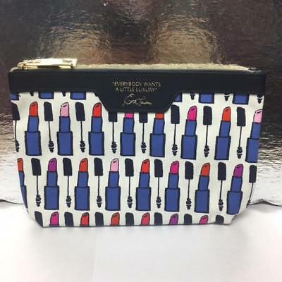 New Estee Lauder Cosmetic Makeup Bag Blue Quote Everybody Wants A Little Luxury