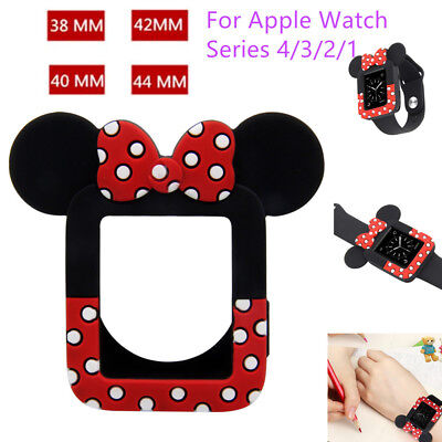 Cute fr Apple Watch Series 5 4 3 Minnie Mouse Soft Silicone Protective Case Band