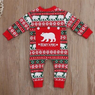 UKStock Newborn Kids Baby Boy Girl Christmas Romper Bodysuit Clothes Outfit Set