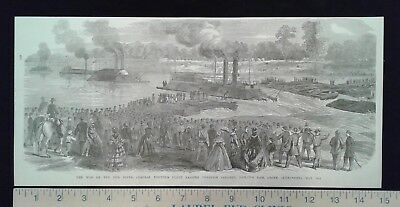 1896 Civil War Print - War on the Red River - Porter's Fleet - Above Alexandria