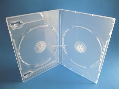 NEW! 5 Premium Double Disc DVD Cases 14mm Super Clear - Holds 2 discs - Two