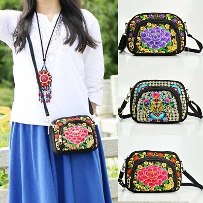 US Women Shoulder Bag Travel Pouch Retro Floral Embroidered Crossbody Zip Bags