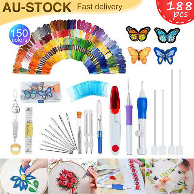 188Pcs Magic Embroidery Pen Knitting Sewing DIY Tools Punch Needle W/ 150 Thread