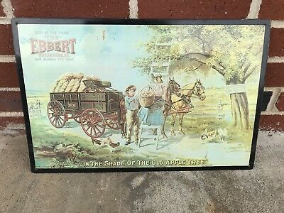 """Embossed Tin Advertsing Sign Ebbert Owensboro, Ky """"In The Shade Old Apple Tree"""""""