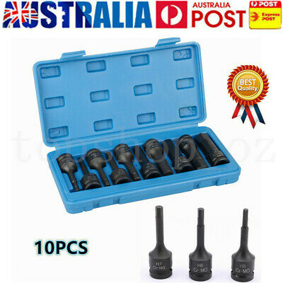 1/2'' Drive Deep Air Impact Socket Set Hex Allen Bits Long Auto Repair Tools
