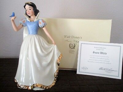 Disney Snow White Ceramic Lenox Figurine 1999  CoA  24 Karat Gold Trim