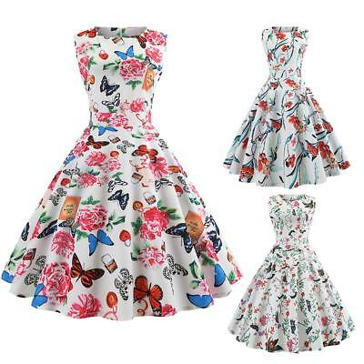 Womens 50S 60S Vintage Retro Floral Sleeveless Printing Party Prom Swing Dress