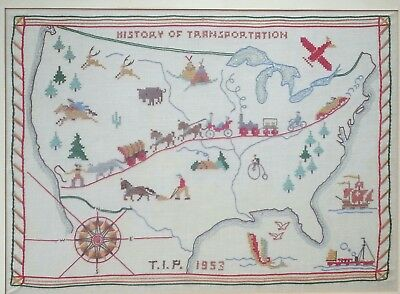 Hand embroidered Map of United States History of Transportation, ONE OF A KIND