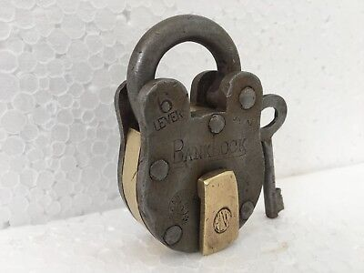 1930 Old Vintage Rare Iron Brass Lock and Key Collectible 6 levers Banklock