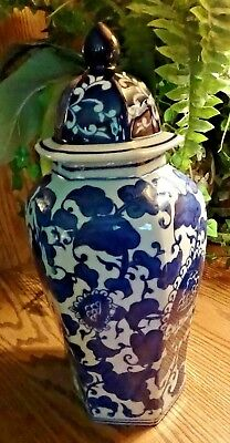 Cobalt Blue And White Urn Covered With Floral Design