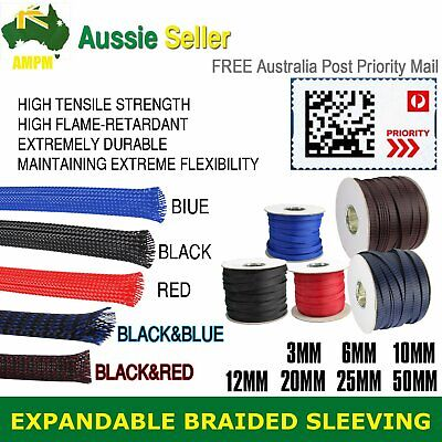 3Meter 3mm-50mm Nylon Expandable Braided Braiding Sleeving Cable Sleeve Protect