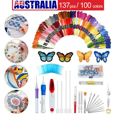 137in1 Embroidery Pen Punch Needle Kit Sewing Knitting Threads DIY Knitting Tool