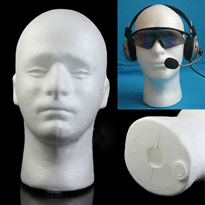 UK  Male Polystyrene Styrofoam Foam Head Model Stand Wig Hair Hat Mannequin