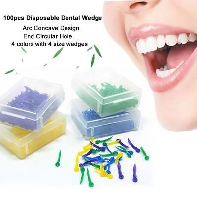 100X Dental Plastic Poly-Wedges with Holes Round Stern 4 Color 4 Sizes&~-