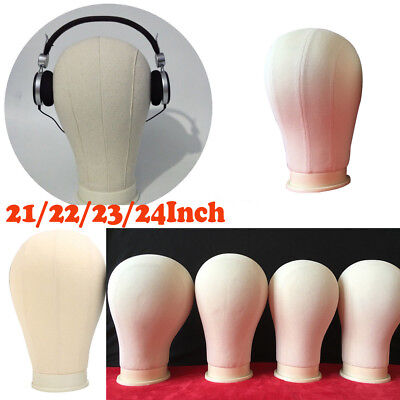 21-24'' Canvas Head Wig Making Mannequin Model Block Head Wig Hat Display Stand