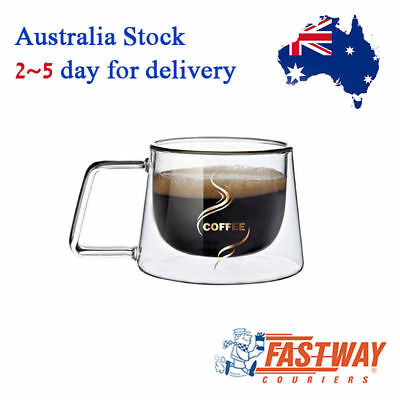 Double Wall Glass Coffee Cup Heat Resisting Mug with Handle For Coffee Tea 200ml