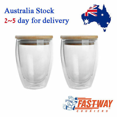 2-Pack Double Wall Insulated Drinking Cup with Bamboo Lid Tea Coffee Cup 350ml