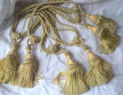 Pair of antique/vintage French passementerie silk curtain tie backs, tassels