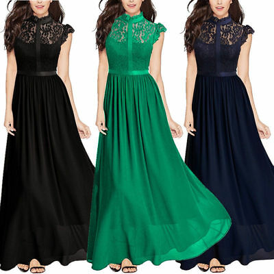 Long Chiffon Lace Evening Formal Party Ball Gown Prom Bridesmaid Maxi Dress 4-16