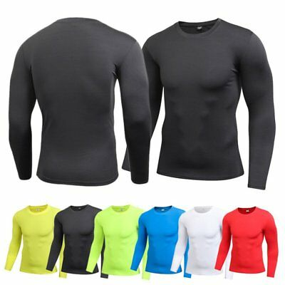 Mens Compression Base Layer Tight T-Shirts Gym Top Long Sleeve Sport T-shirt