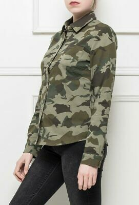 New Womens Ladies Army Military Style Shirt Green Camouflage Stretch Blouse