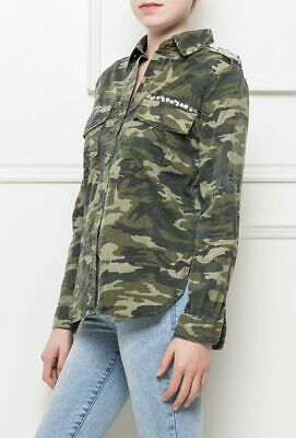 New Womens Ladies Army Military Style Shirt Green Camouflage Loose Baggy Blouse