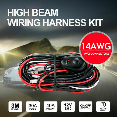 Wiring Loom Harness Kit 2-Way For Driving Work light bar 12V 40A LED HID Switch