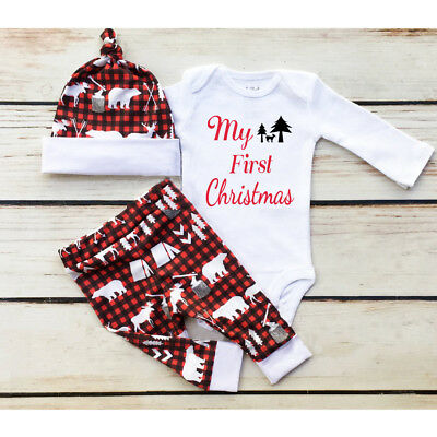 My First Christmas Newborn Baby Boy Girl Romper Pants Hat 3Pcs Outfit Clothes UK