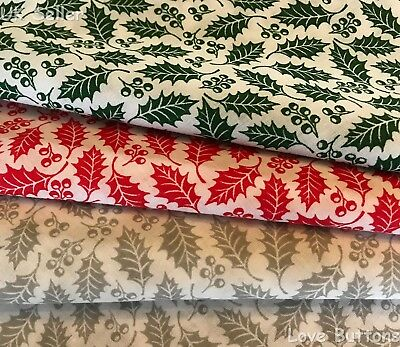 HOLLY & BERRIES CHRISTMAS FABRIC RED, GREEN OR GREY POLYCOTTON 112cm WIDE/METRE