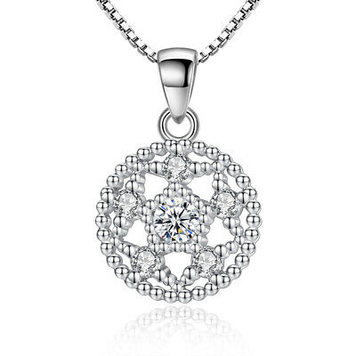 S925 Sterling Silver Pendant Necklace Hollow Flower Style For Women Xmas Gift