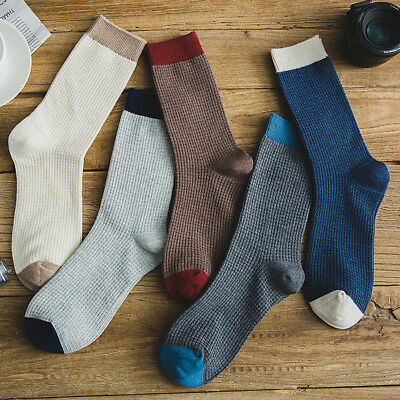 5 Pairs Mens Cotton Socks Lot Warm Classic Business Gridding Casual Dress SOX