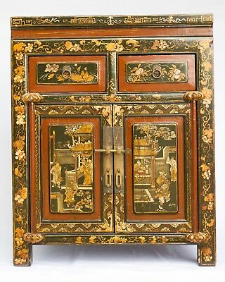 Chinese antique cabinets. Ming period lacquer and gilt, hand painted, Gorgeous.