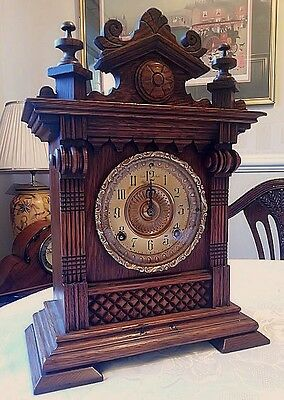 Antique Ansonia Clock Company Oak Cased 8 Day Striking Mantel Clock
