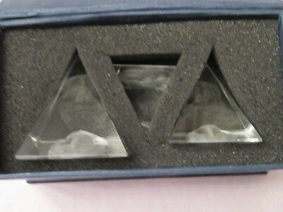 Ancient Egyptian Crystal Light Etched Pyramids Set of 3 Laser Cut Pharaoh Head