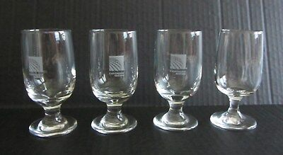 "Lot of 4 Continental Airlines 5 oz Small Wine or Spirits Glasses 4.5"" tall"