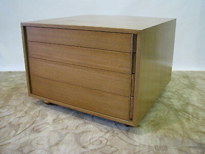 Ed Wormley for Dunbar 4 Drawer Blonde Mahogany Chest/Lamp Table on Casters