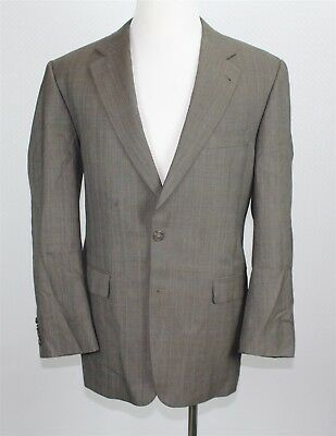 Burberry London Men's Jacket Blazer 42R Light Brown Taupe Plaid 100% Wool
