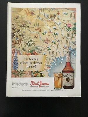 Paul Jones blended whiskey 1950 advertisement With Chesterfield On Reverse