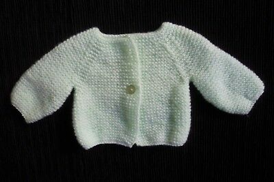 Baby clothes UNISEX BOY GIRL premature/tiny<5lbs/2.3kg pale green soft cardigan